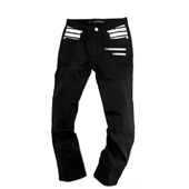 HUGEBLOCKS 【BOARDER-Denim】 BLACK×white