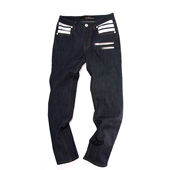 HUGEBLOCKS 【BOARDER-Denim】 INDIGO×white