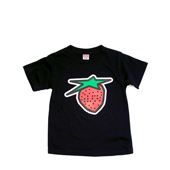 HUGEBLOCKS 【Starberry KIDS T-shirt】 BRITE BLACK×red + white