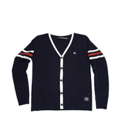 HUGEBLOCKS 【HEM Cardy】 NAVY / White + Orange