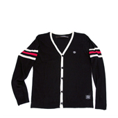 HUGEBLOCKS 【HEM Cardy】 BLACK / White + Red